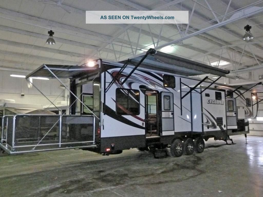2013 Heartland Cyclone 5th Wheel Toy Hauler W /patio Cyclone Cy4100 King 3slide 3awning,  Gen,  Fuel Statn. Fifth Wheel RVs photo