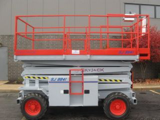 Skyjack Sj8841 Rough Terrain Scissor Lift Manlift Boom Aerial Man Dual Fuel Eng photo