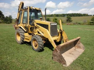 Caterpillar 416 4x4 Turbo Backhoe Tractor Loader Enclosed Cab Low Hours photo