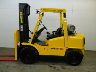 2005 Hyster 8000 Lb Capacity Forklift Lift Truck Pneumatic Tire Clear View Mast photo