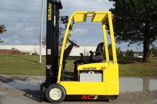 Hyster 3000 Lb Capacity 3 Whl Electric Forklift Lift Truck Recondtioned Battery photo