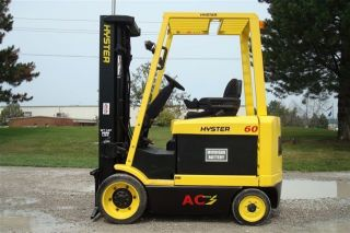 Hyster 6000 Lb Capacity Electric Forklift Lift Truck Recondtioned Battery Low Hr photo