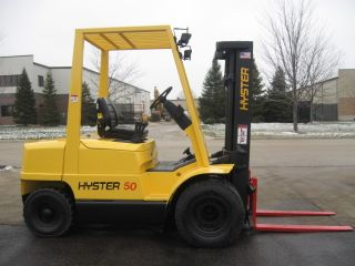 2000 Hyster H50xm Forklift 5000lb Pneumatic Diesel Lift Truck photo