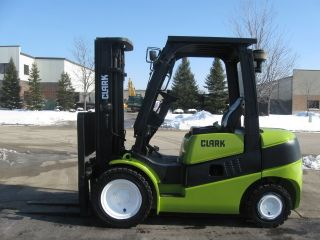 Clark C30d 6000 Lb Capacity Forklift Lift Truck Solid Pneumatic Tire Triple Stg photo