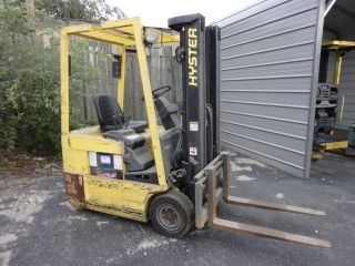 Hyster 3000 Lb Electric 3 Stage W/side Shift Fork Lift 4860 Hrs.  1613u photo