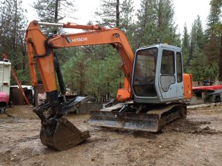 Hitachi Ex60 - 2 Excavator Track Hoe With Back Fill Blade And Hydraulic Thumb Ex60 photo