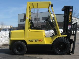 2002 Hyster H60xm Forklift 6000lb Pneumatic Diesel Lift Truck Side Shift photo