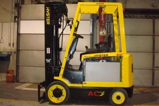 Hyster 6000 Lb Capacity Electric Forklift Lift Truck Recondtioned Quad Mast photo