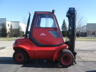 Linde H45d 10000 Lb Capacity Forklift Lift Truck Pneumatic Tire Cab W/heat photo