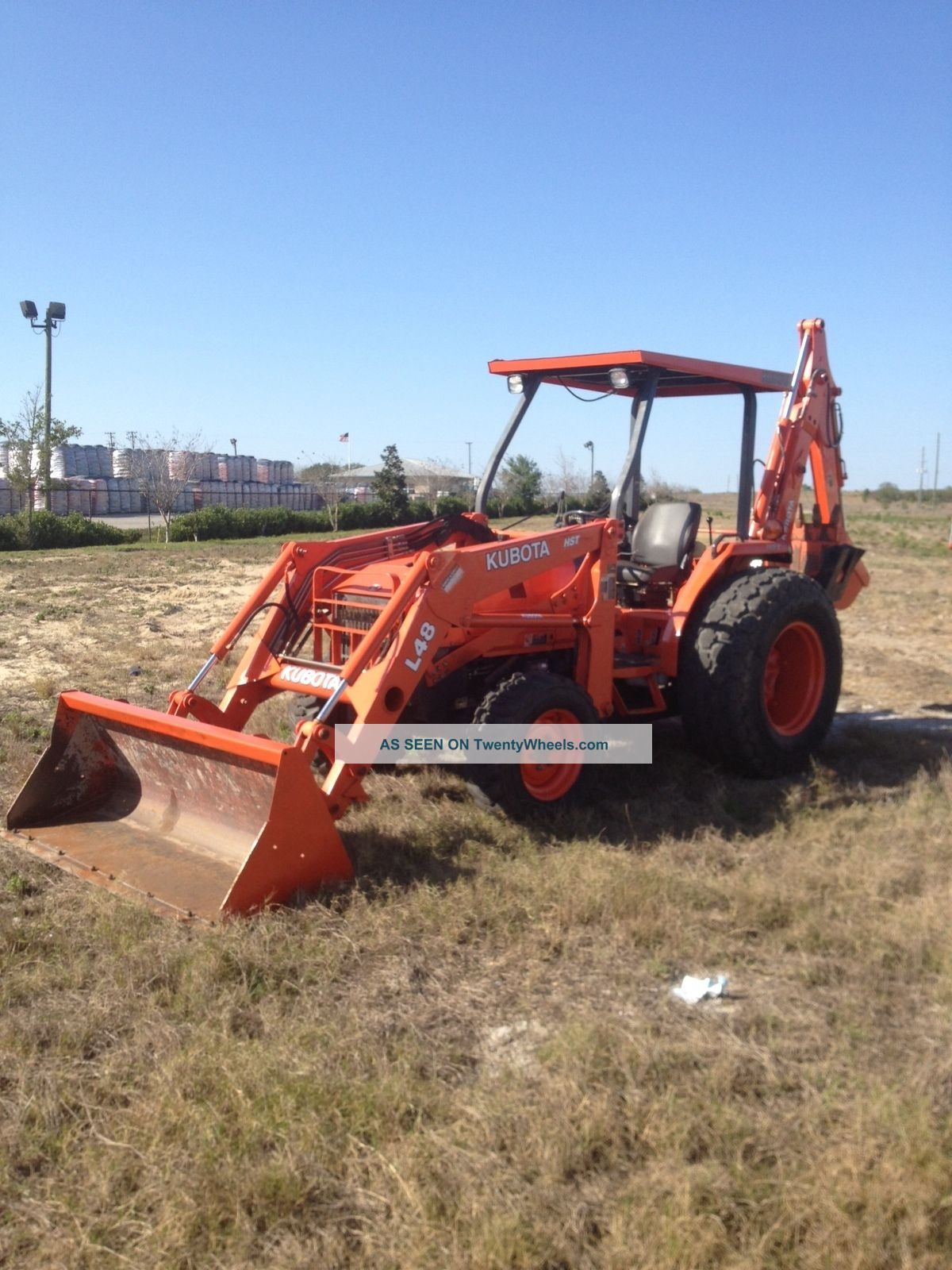 Kubota L48 Backhoe Loader Tractor 4x4 Three Point Hitch Diesel Hoe Rubber Tire Tractors photo