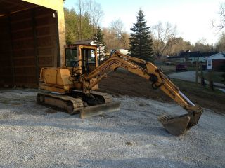 1992 Excavator Gehl Gx45 Trackhoe With 14 Foot Reach And Dozer Blade Swivel Arm photo