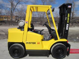 2005 Hyster H80xm Forklift Lift Truck Hilo Fork,  Pneumatic 8,  000lb Lift Yale photo