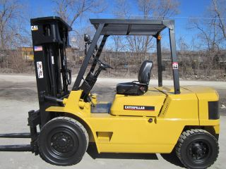 Mitsubishi Fd35 Diesel Forklift Lift Truck Fork,  Pneumatic Caterpillar Cat photo