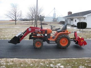 Kubota 4wd B 7200 B7200 With Bush Hog Loader And Tiller And Harrow photo