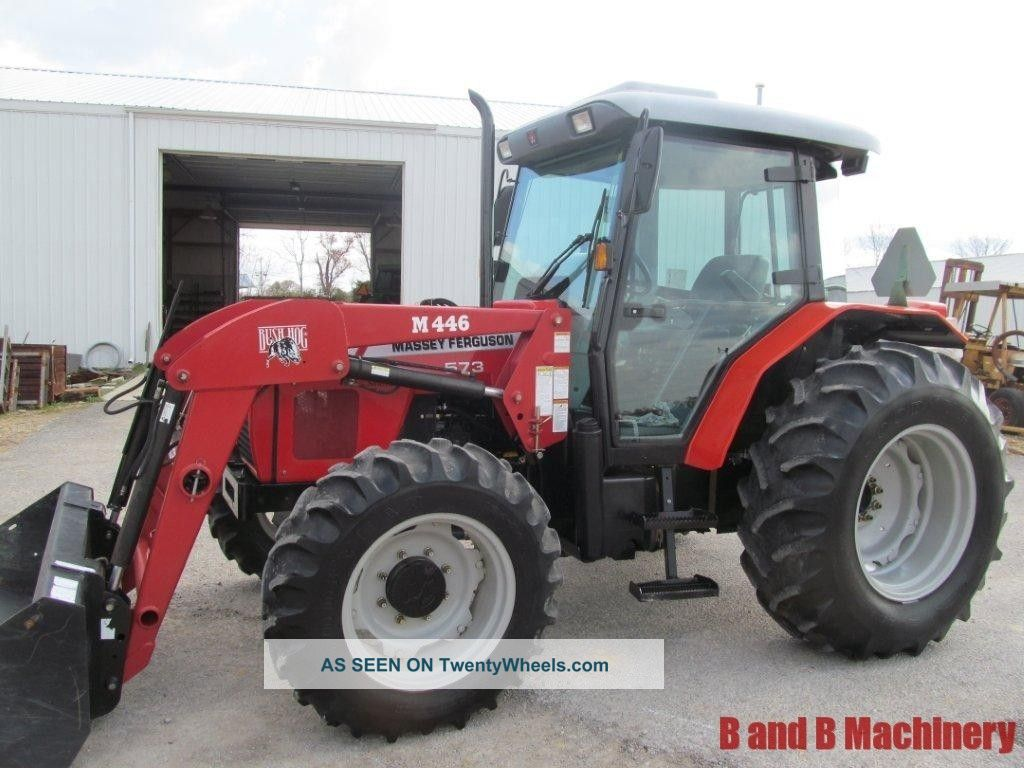 Massey Ferguson 573 Diesel Farm Tractor Cab 4x4 Loader 619 Hours Tractors photo