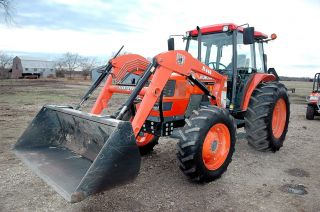 2005 Kubota M 9000 Hdc,  4x4,  Cab Air,  279 Hrs,  W/bushog Front End Loader photo