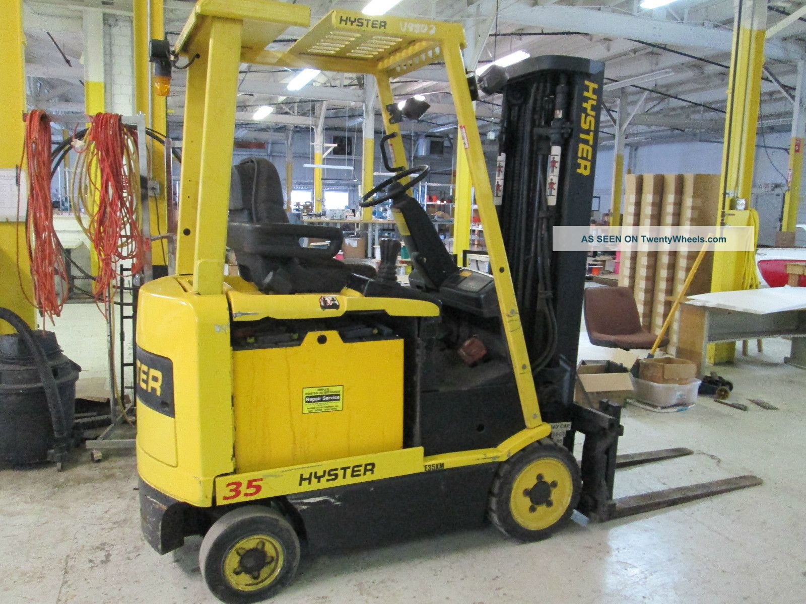 Hyster E35xm Electric Forklift Fork Lift Ohio Tow Motor 3 Stage Mast Forklifts & Other Lifts photo