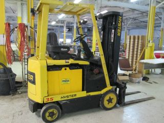 Hyster E35xm Electric Forklift Fork Lift Ohio Tow Motor 3 Stage Mast photo