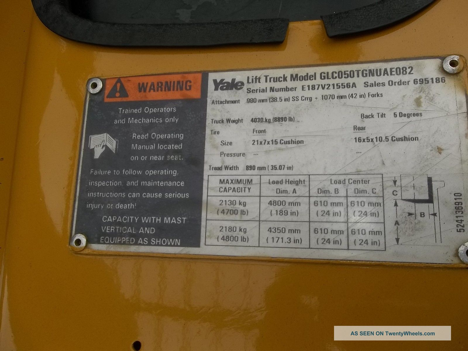 Yale Forklift 5000 Lb 3 Stage Mast Max Lift 189 Glco50