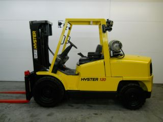 Hyster 12000 Lb Capacity Forklift Lift Truck Pneumatic Tire Triple Stage Lp Gas photo