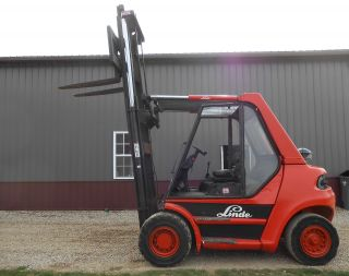 Linde H70d Deutz Diesel Fork Lift 15000 Material Handler Solid Pneumatic Tires photo
