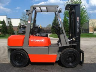 2000 Toyota 6fgu35 Forklift 8000lb Pneumatic Lift Truck Hi Lo 3 Stage photo