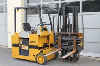 Drexel Swing Mast Electric Forklift,  2200 Lbs Cap,  36 Volt Charger Side Loader photo