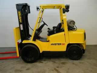 2005 Hyster 8000lb Capacity Forklift Lift Truck Pneumatic Tire Triple Stage Mast photo