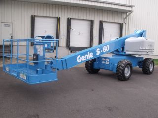 Genie S60 Aerial Manlift Boom Lift Man Boomlift Fresh Paint & Service Inspected photo