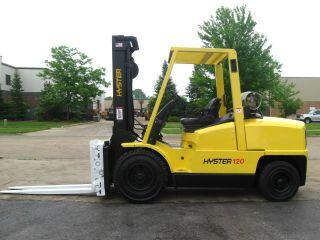 2005 Hyster 12000 Lb Capacity Forklift Lift Truck Pneumatic Full Lift Mast photo
