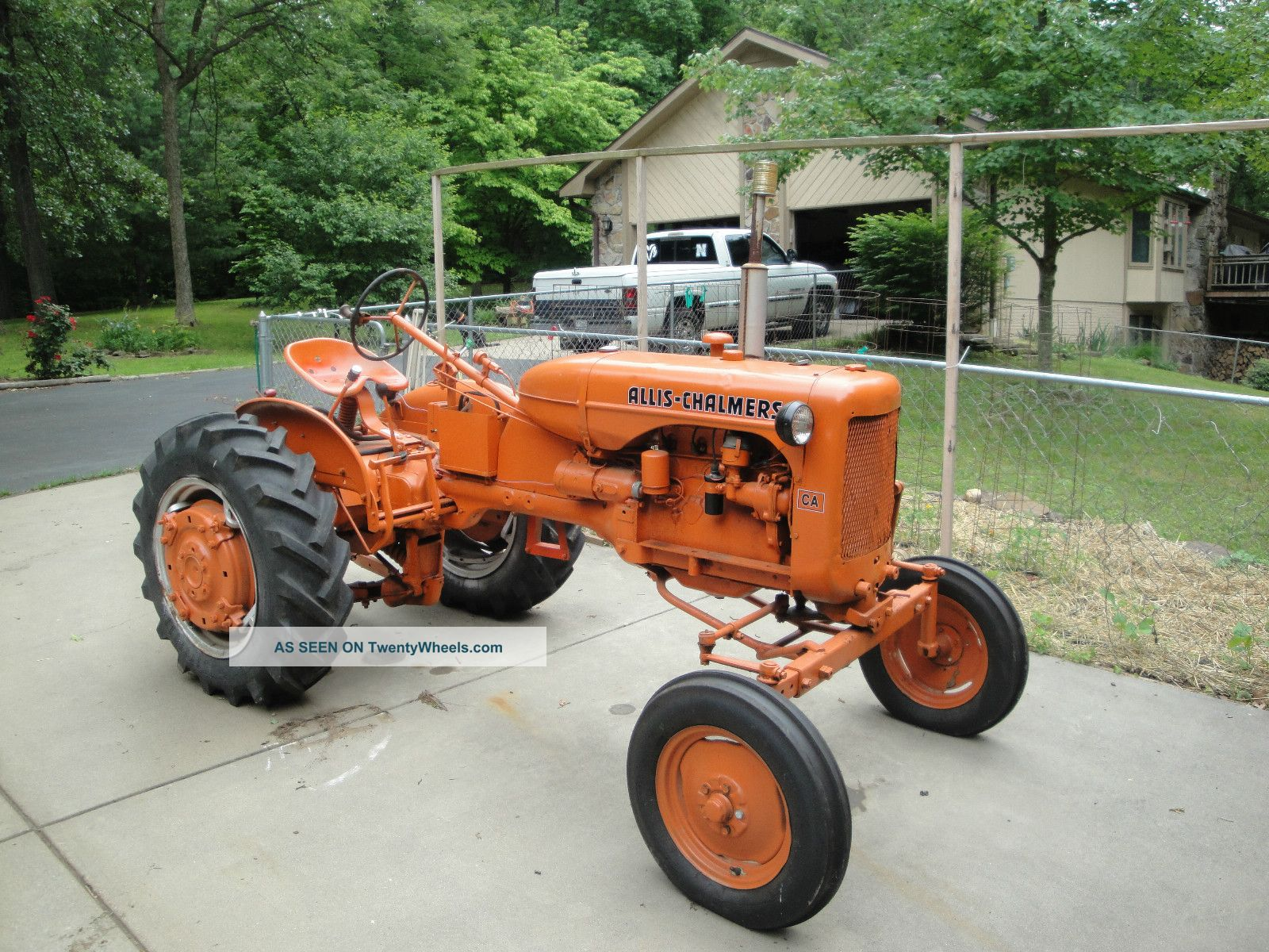 7508 1955 allis chalmers ca tractor on end dump tractor trailer