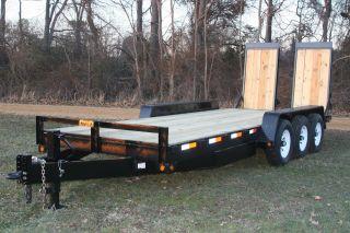 20 ' 21k Equipment Trailer Backhoe/skid Steer/bobcat/fork Catties/wide Ramps photo