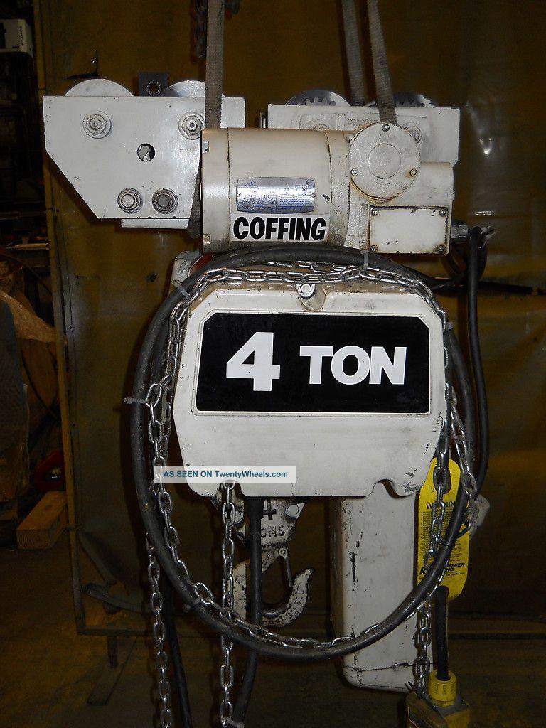 Coffing 4 Ton Hoist  Chain Fall Lift Powered Trolly 240v