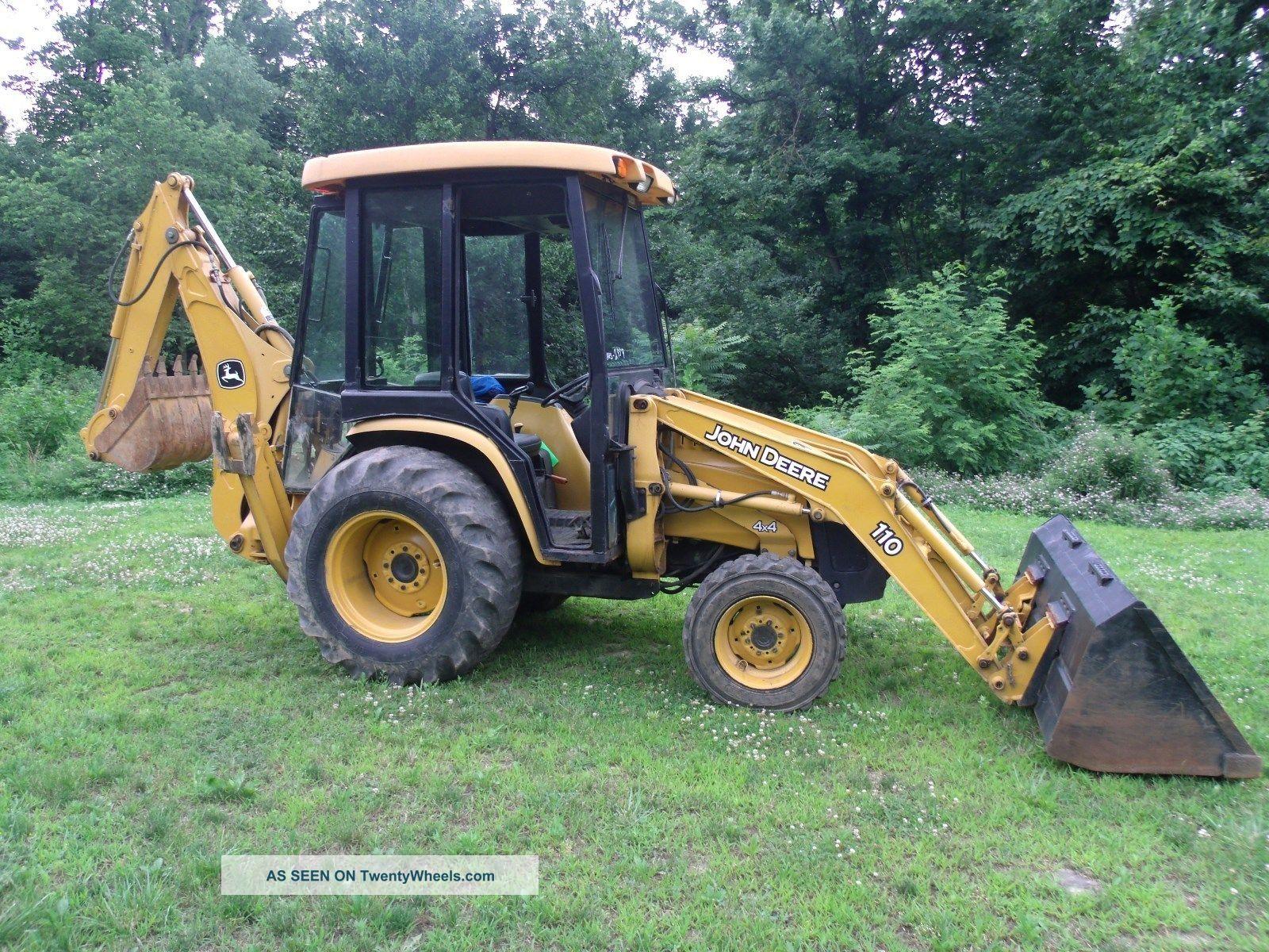 John Deere 110 Backhoe : John deere loader tractor backhoe full cab diesel