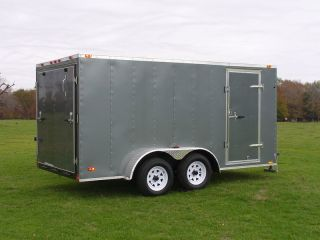 7x12 Enclosed Cargo Trailer Tandem Double Dual Axle Motorcycle Landscape photo