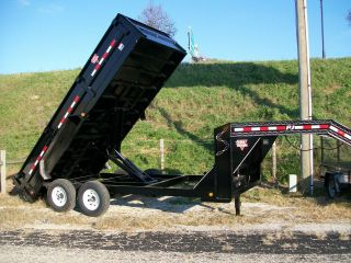 Dump Trailer Gooseneck,  Scissor Lift. .  Heavy Duty. .  83
