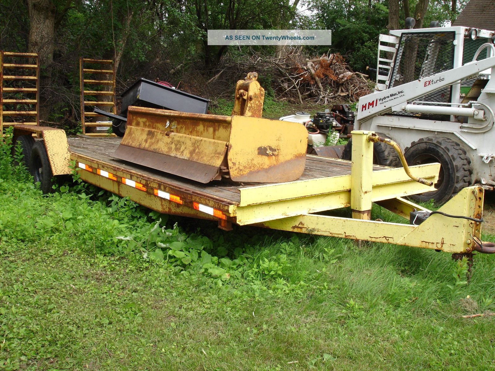 Heavy Duty Flat Bed Construction Trailer 21 Feet With Fold Down Ramps Wood Deck Other photo