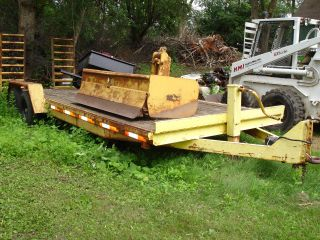 Heavy Duty Flat Bed Construction Trailer 21 Feet With Fold Down Ramps Wood Deck photo