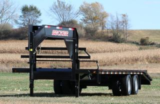 In Stock 32 ' Flatbed Gooseneck Trailer - 22,  500 Gvwr,  Low Profile W/ Torque Tube photo