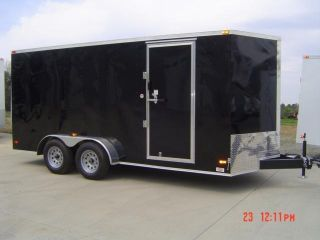 7x16 Enclosed Trailer Cargo V - Nose Tandem Dual Ramp Motorcycle Landscape Lawn photo