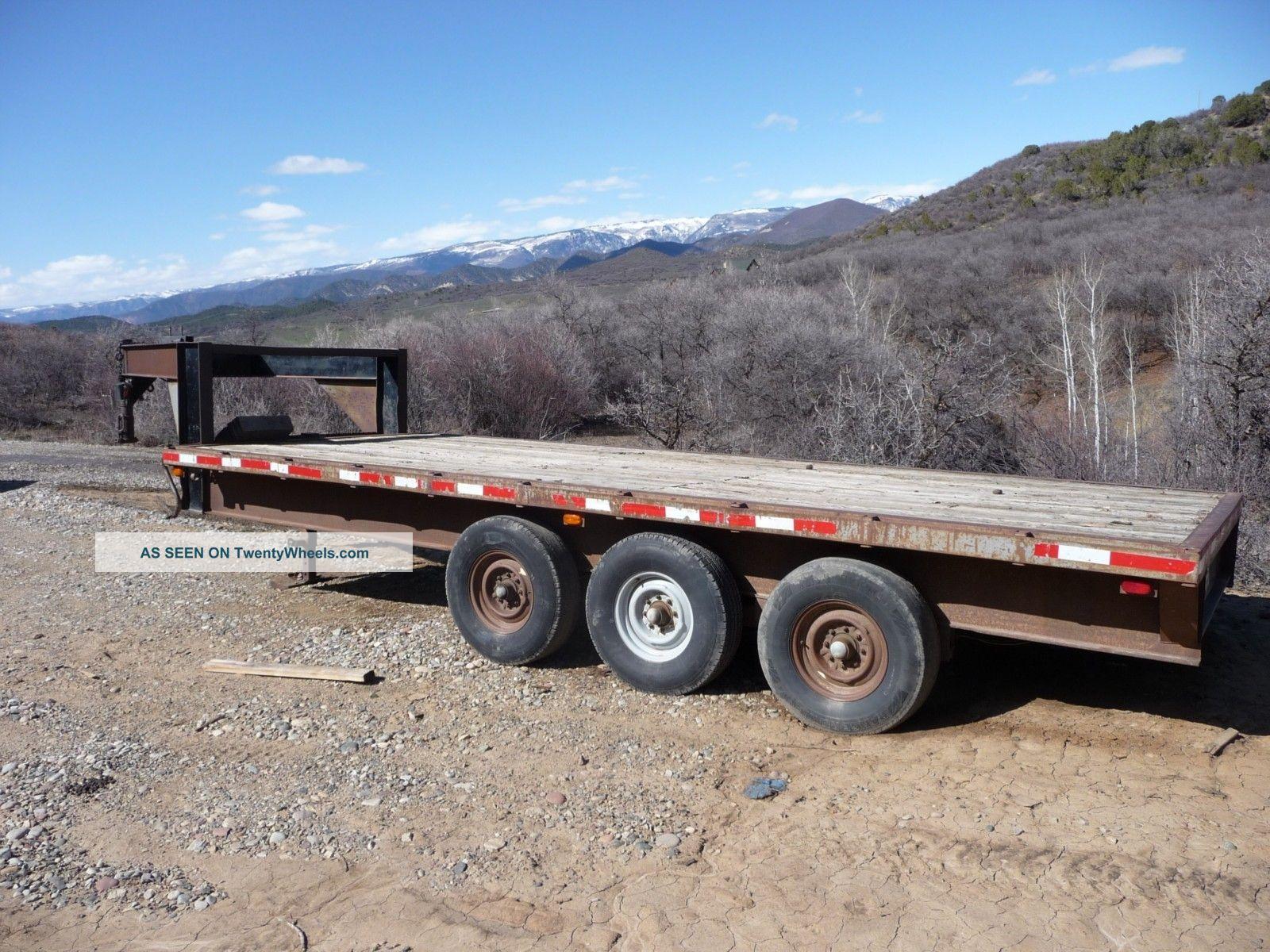 Heavy Equipment Trailer : Heavy duty gooseneck flatbed trailer triple axle