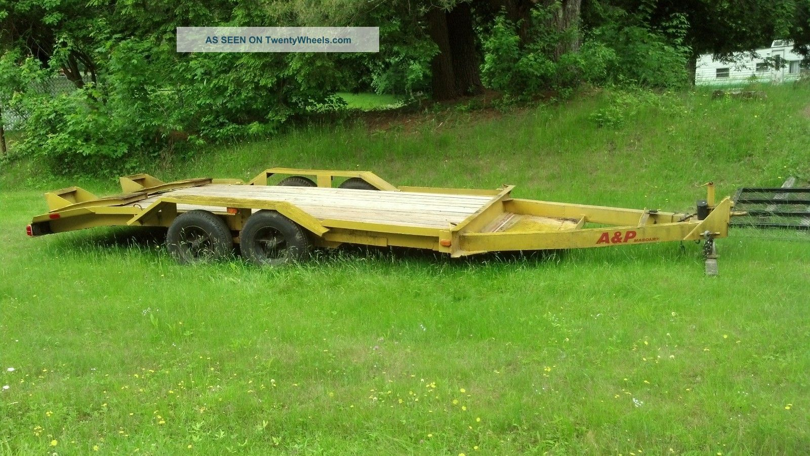 Equipment Trailer Flatbed 7 Ton Skidsteer Backhoe Bed Construction Utility Trailers photo