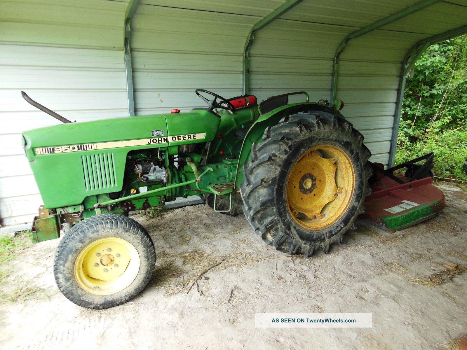 John Deere Bush Hog : John deere tractor with bush hog mower cutter