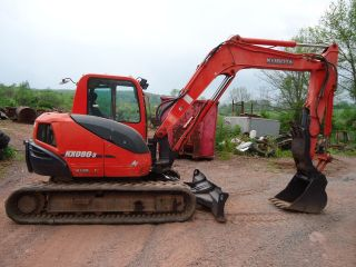 2007 Kubota Kx080 Excavator Cab Heat Ac Dozer Blade Only 2275 Hours photo