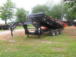 16 ' Triple Axle Gooseneck Dump Skidsteer Equipment Trailer photo