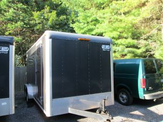 2008 7x14 Enclosed Cargo Trailer W/ Tandem Axels And Brakes,  Side Door,  Rear Ramp photo