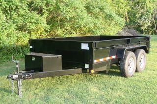 7x12 12000lbs Heavy Duty Dump Trailer Dual Ram + Skid Steer/bobcat Ramps photo