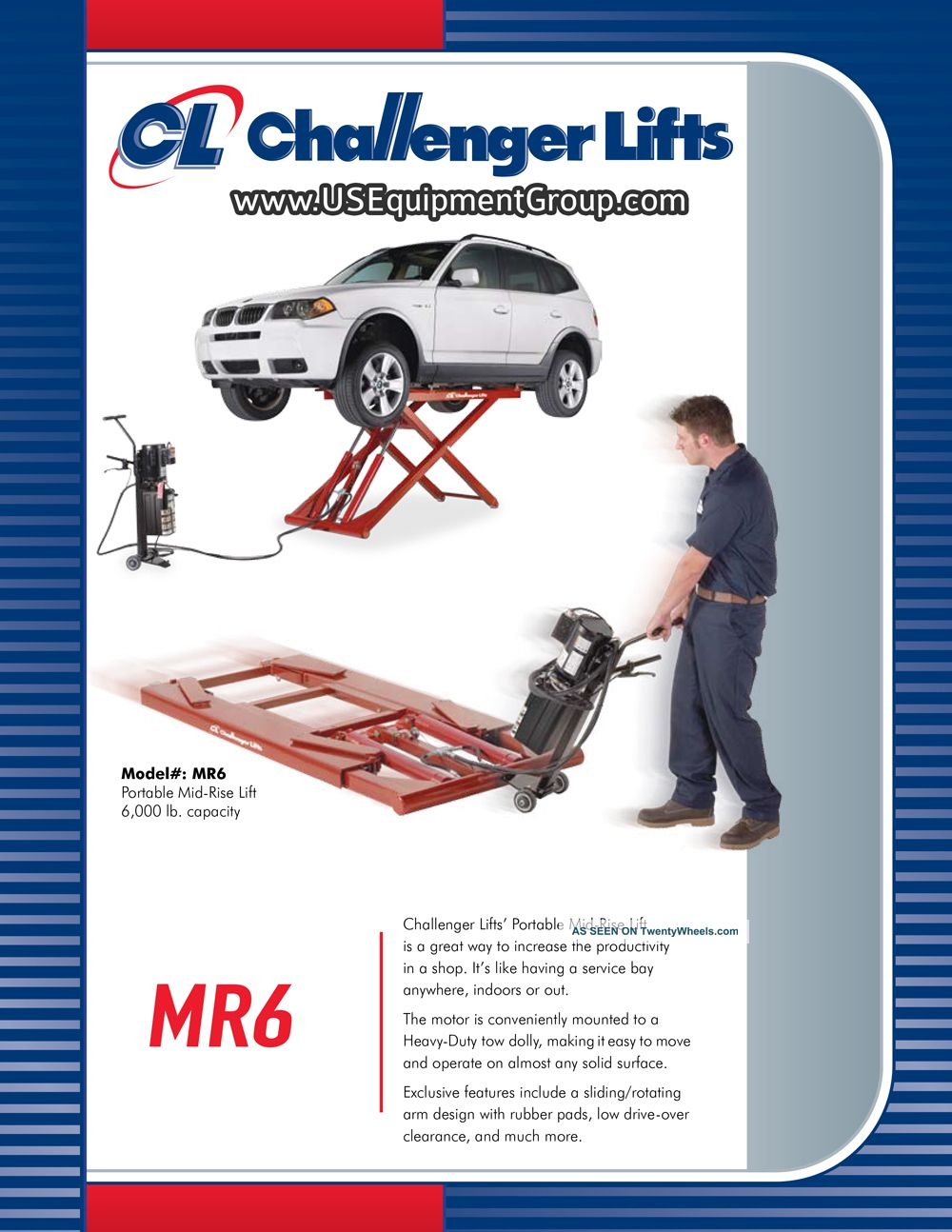 Challenger Mr6 6000 Lb Mid - Rise Portable Car Lift