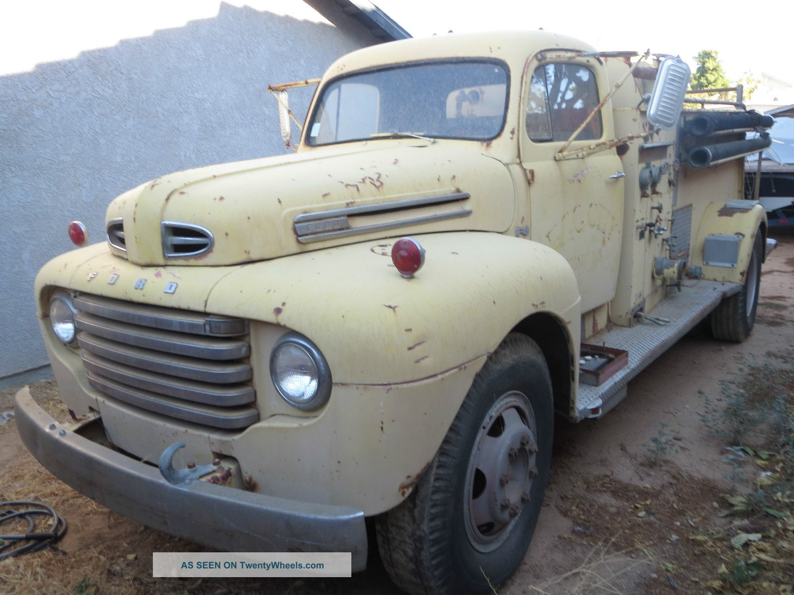 13206 1950 ford f   8 on semi truck dump trailers specs
