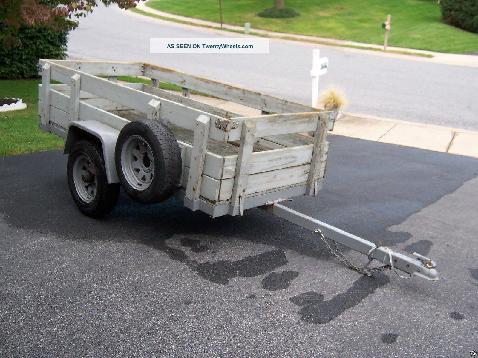 Wood Flatbed Trailer ~ Utility trailer tilt bed ft wood deck